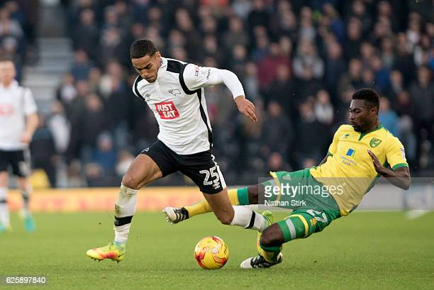 Max Lowe of Derby County and Alexander Tettey of Norwich City in action during the Sky Bet Championship match between Derby County and Norwich City...