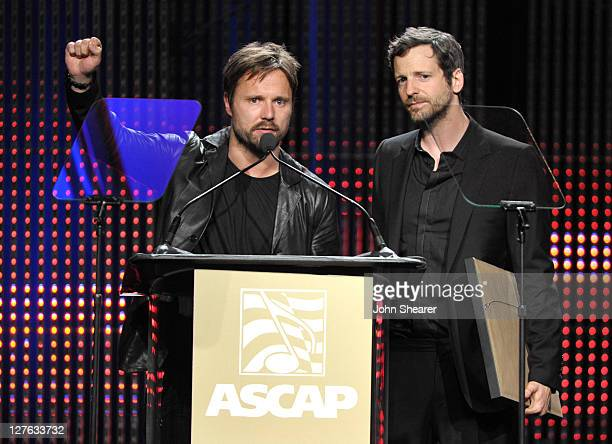 Max Martin and Lukasz 'Dr Luke' Gottwald on stage at the 28th Annual ASCAP Pop Music Awards at the Grand Ballroom at Hollywood Highland Center on...