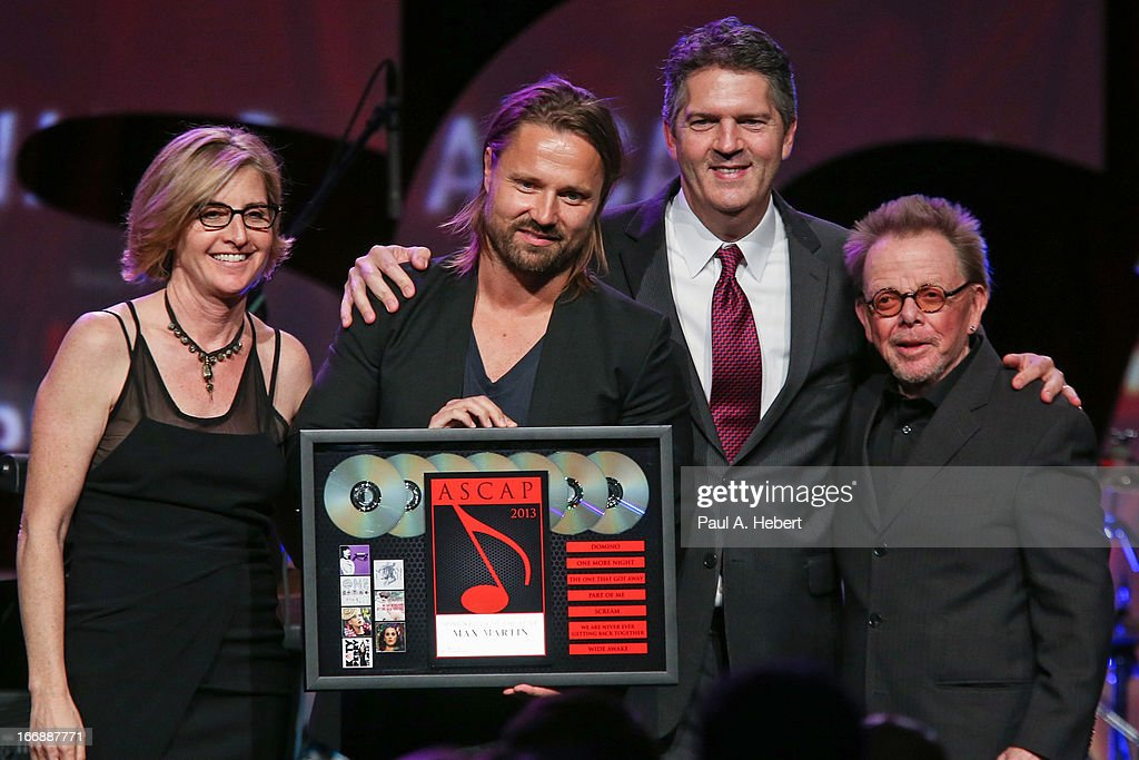 Max Martin (2nd from left) receives an award on stage during the 30th Annual ASCAP Pop Music Awards at Loews Hollywood Hotel on April 17, 2013 in Hollywood, California.