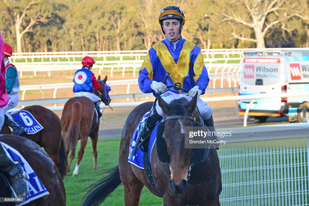 Max Master ridden by Lachlan King returns to the mounting yard after winning the Parker Bros. Earthmoving 0 - 58 Handicap at Seymour Racecourse on August 19, 2017 in Seymour, Australia.