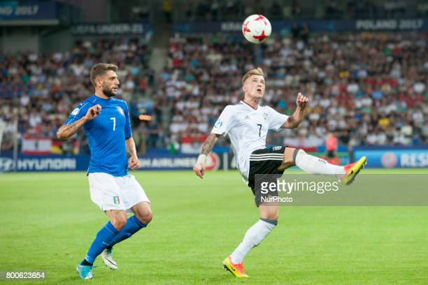 Max Mayer of Germany and Domenico Berardi of Italy during the UEFA European Under21 Championship 2017 Group C match between Italy and Germany at...