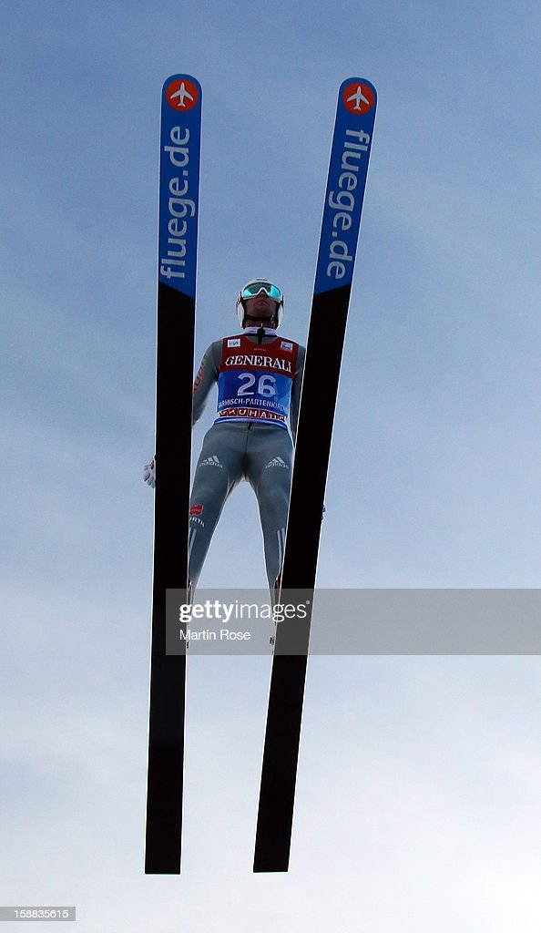 Max Mechler of Austria competes during the trial round for the FIS Ski Jumping World Cup event of the 61st Four Hills ski jumping tournament at Olympiaschanze on December 31, 2012 in Garmisch-Partenkirchen, Germany.