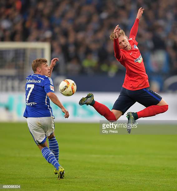 Max Meyer of FC Schalke 04 and Mitchell Weiser of Hertha BSC fight for the ball during the game between Schalke 04 and Hertha BSC on October 17 2015...