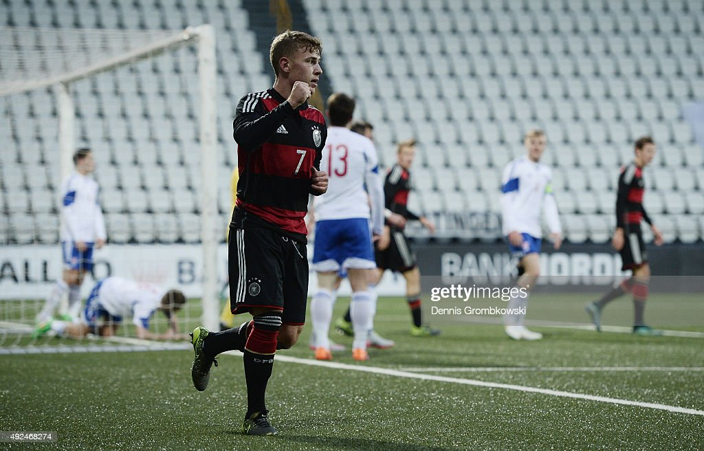 Max Meyer of Germany celebrates as he scores the third goal during the 2017 UEFA European U21 Championships Qualifier between U21 Faroe Islands and...