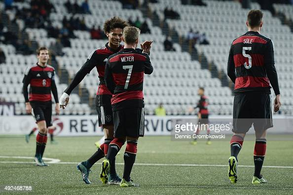 Max Meyer of Germany celebrates with Leroy Sane as he scores the third goal during the 2017 UEFA European U21 Championships Qualifier between U21...