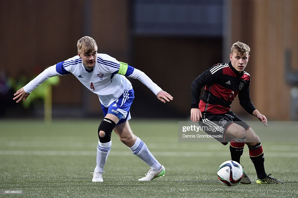 Max Meyer of Germany challenges Andreas Eriksen of Faroe Island during the 2017 UEFA European U21 Championships Qualifier between U21 Faroe Islands...