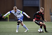 Max Meyer of Germany challenges Andreas Eriksen of Faroe Island during the 2017 UEFA European U21 Championships Qualifier between U21 Faroe Islands...