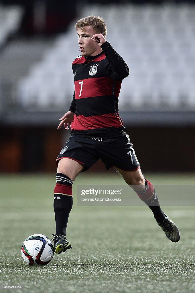 Max Meyer of Germany controls the ball during the 2017 UEFA European U21 Championships Qualifier between U21 Faroe Islands and U21 Germany at...
