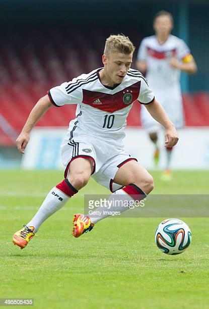 Max Meyer of Germany during the UEFA Under19 Elite Round match between U19 Germany and U19 at Estadio Balaidos on June 2 2014 in Vigo Spain