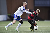 Max Meyer of Germany is challenged by Joannes Biartalio of Faroe Island during the 2017 UEFA European U21 Championships Qualifier between U21 Faroe...