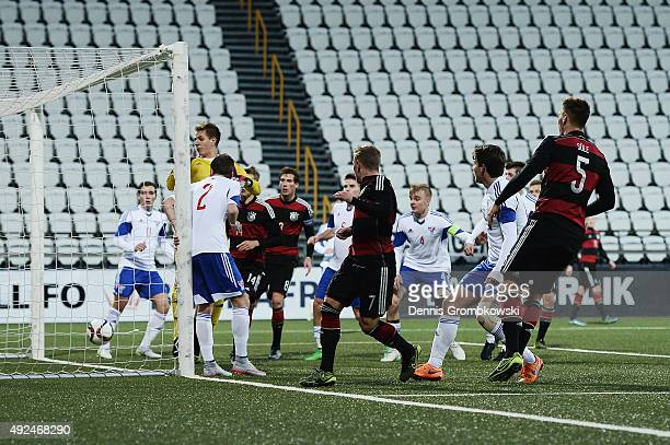 Max Meyer of Germany scores the third goal during the 2017 UEFA European U21 Championships Qualifier between U21 Faroe Islands and U21 Germany at...