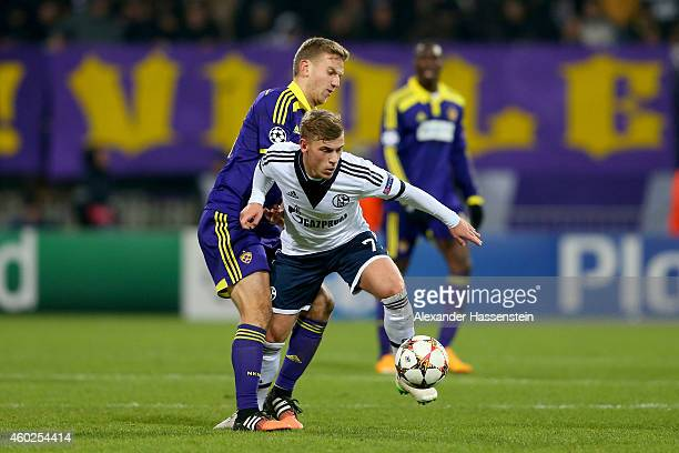 Max Meyer of Schalke battles for the ball with Ales Mertelj of Maribor during the UEFA Group G Champions League match between NK Maribor and FC...