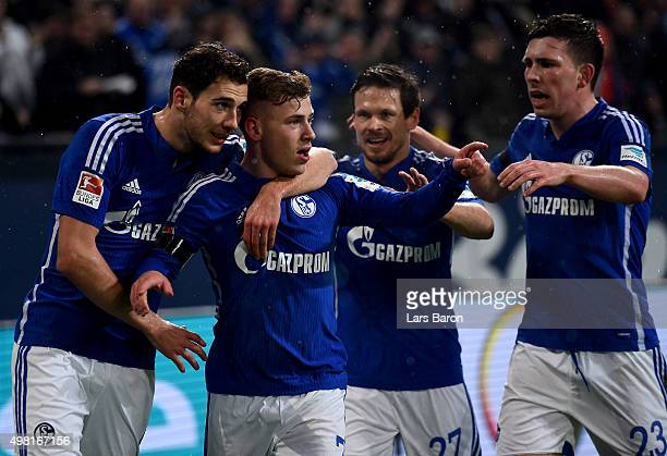 Max Meyer of Schalke celebrates after scoring his teams first goal during the Bundesliga match between FC Schalke 04 and FC Bayern Muenchen at...