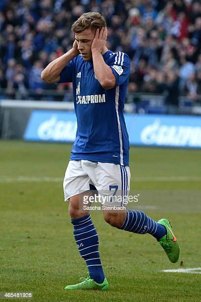 Max Meyer of Schalke celebrates after scoring his team's second goal during the Bundesliga match between FC Schalke 04 and 1899 Hoffenheim at Veltins...