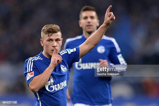Max Meyer of Schalke celebrates after scoring the opening goal during the Bundesliga match between FC Schalke 04 and SV Werder Bremen at Veltins...