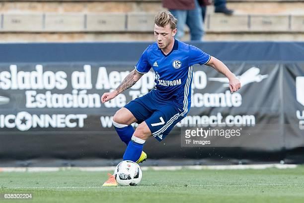Max Meyer of Schalke in action during the friendly match between FC Schalke 04 v KV Oostende Friendly Match at Estadio Municipal Guillermo Amor on...