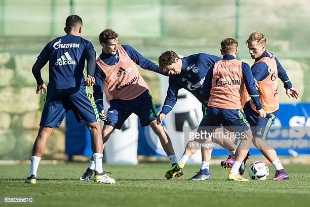 Max Meyer of Schalke Johannes Geis of Schalkeand Benjamin Stambouli of Schalke battle for the ball during the Training Camp of FC Schalke 04 at Hotel...
