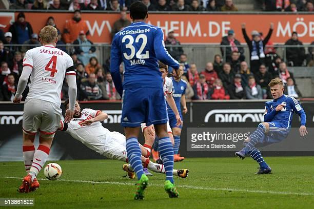 Max Meyer of Schalke scores his team's second goal during the Bundesliga match between 1 FC Koeln and FC Schalke 04 at RheinEnergieStadion on March 5...