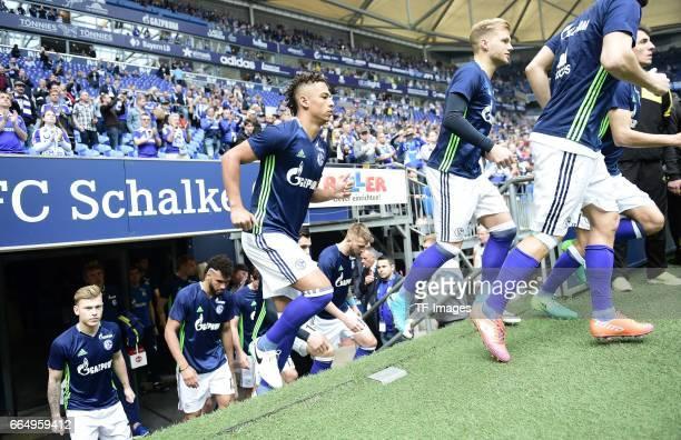 Max Meyer of Schalke Thilo Kehrer of Schalke and Johannes Geis of Schalke looks on during the Bundesliga match between FC Schalke 04 and Borussia...