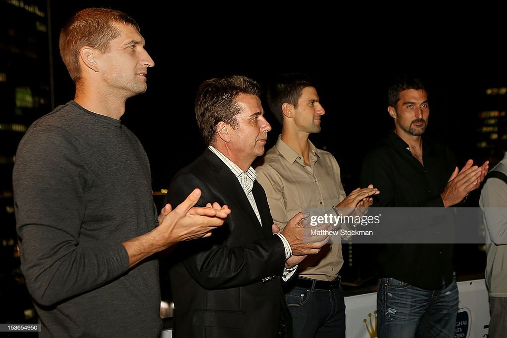 Max Mirnyi of Belarus ATP Executive Chairman President Brad Drewett Novak Djokovic of Serbia and Nenad Zimonjic of Serbia applaude during the keynote...