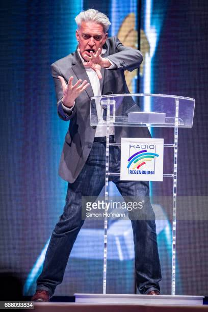 Max Moor holds a speech during the Radio Regenbogen Award 2017 at Europapark on April 7 2017 in Rust Germany
