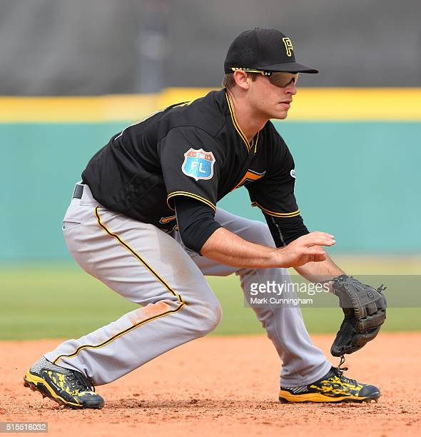 Max Moroff of the Pittsburgh Pirates fields during the Spring Training game against the Detroit Tigers at Joker Marchant Stadium on March 12 2016 in...