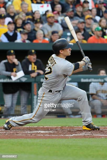 Max Moroff of the Pittsburgh Pirates follows his two RBI double against the Baltimore Orioles in the second inning at Oriole Park at Camden Yards on...