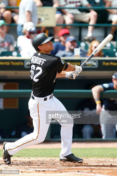 Max Moroff of the Pittsburgh Pirates in action against the Atlanta Braves on March 7 2017 at LECOM Park in Bradenton Florida