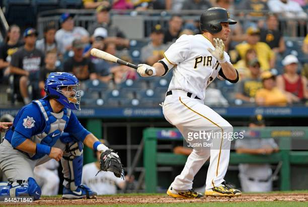 Max Moroff of the Pittsburgh Pirates in action during the game against the Chicago Cubs at PNC Park on September 4 2017 in Pittsburgh Pennsylvania