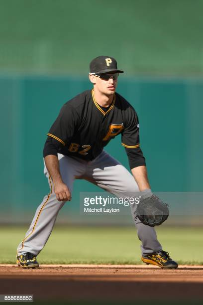 Max Moroff of the Pittsburgh Pirates in position during a baseball game against the Washington Nationals at Nationals Park on October 1 2017 in...