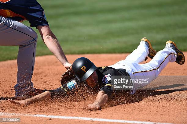 Max Moroff of the Pittsburgh Pirates is picked off at first base during a spring training game against the Houston Astros at McKechnie Field on March...