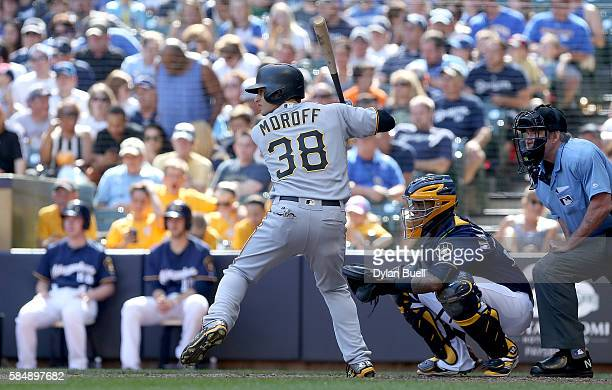 Max Moroff of the Pittsburgh Pirates makes his Major League debut while batting in the eighth inning against the Milwaukee Brewers at Miller Park on...