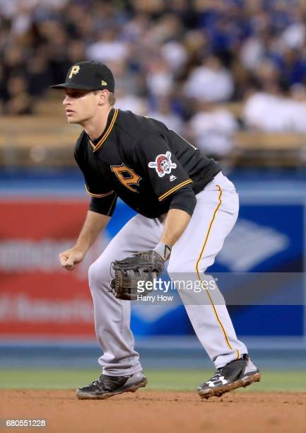 Max Moroff of the Pittsburgh Pirates makes his major league debut playing second base against the Los Angeles Dodgers at Dodger Stadium on May 8 2017...