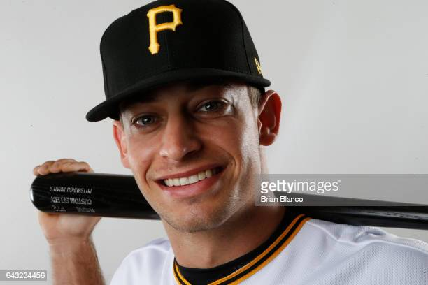 Max Moroff of the Pittsburgh Pirates poses for a photograph during MLB spring training photo day on February 19 2017 at Pirate City in Bradenton...