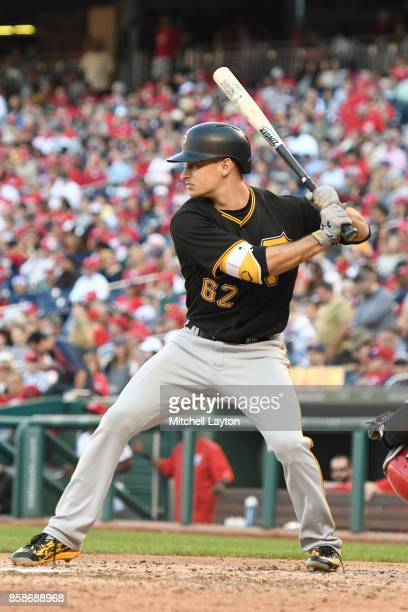 Max Moroff of the Pittsburgh Pirates prepares for a pitch during a baseball game against the Washington Nationals at Nationals Park on October 1 2017...