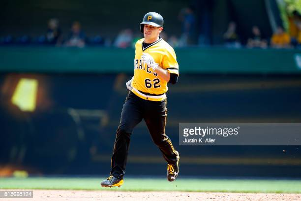 Max Moroff of the Pittsburgh Pirates rounds second after hitting a home run in the fifth inning against the St Louis Cardinals at PNC Park on July 16...