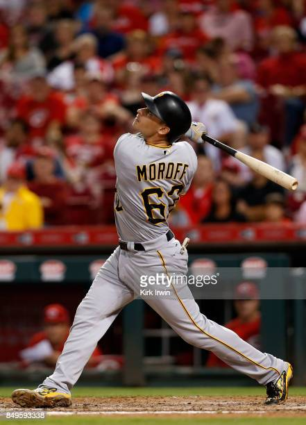 Max Moroff of the Pittsburgh Pirates takes an at bat during the game against the Cincinnati Reds at Great American Ball Park on September 15 2017 in...