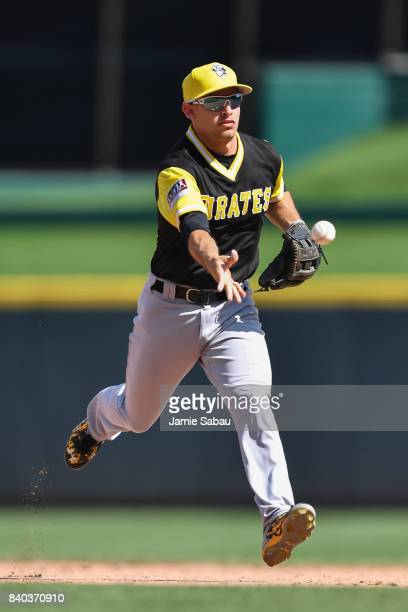 Max Moroff of the Pittsburgh Pirates throws to first base against the Cincinnati Reds at Great American Ball Park on August 27 2017 in Cincinnati Ohio