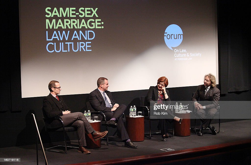 Max Mutchnick, Frank Bruni, Christine Quinn and Thane Rosenbaum attend Same-Sex Marriage: Law & Culture Panel Discussion at Time Warner Screening Room on February 4, 2013 in New York City.