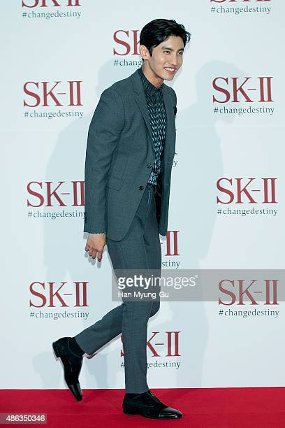 KOREA SEPTEMBER Max of South Korean boy band TVXQ attends the photo call for SKII Pitera Night on September 3 2015 in Seoul South Korea