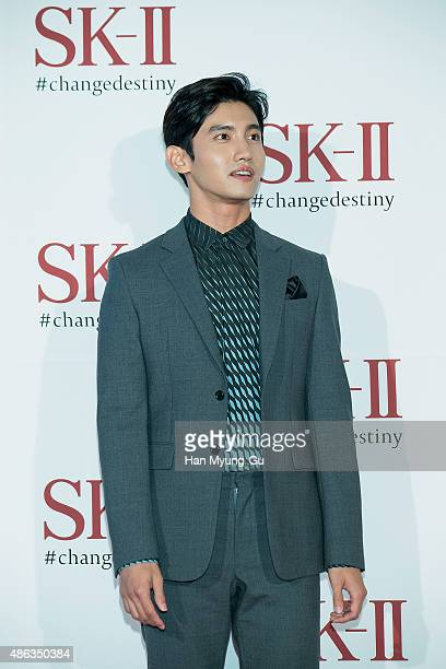 Max of South Korean boy band TVXQ attends the photo call for SKII Pitera Night on September 3 2015 in Seoul South Korea