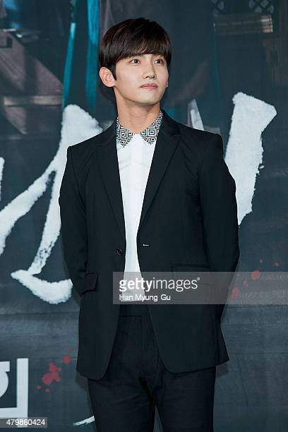 Max of South Korean boy band TVXQ attends the press conference for MBC Drama 'The Scholar Who Walks The Night' on July 07 2015 in Seoul South Korea...