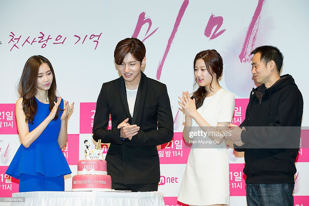 Max of South Korean boy band TVXQ blows out the candles on his birthday cake before the press conference for Mnet drama 'Mi Mi' at the Patio 9 on...