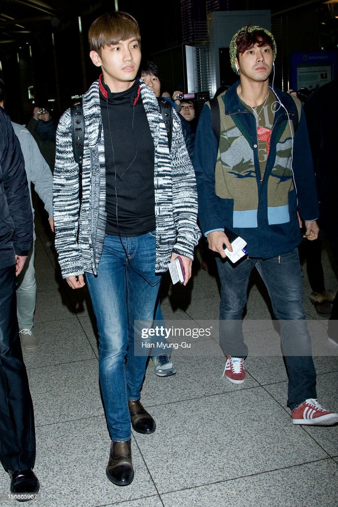 Max of South Korean boy band TVXQ is seen at Incheon International Airport on November 22, 2012 in Incheon, South Korea.