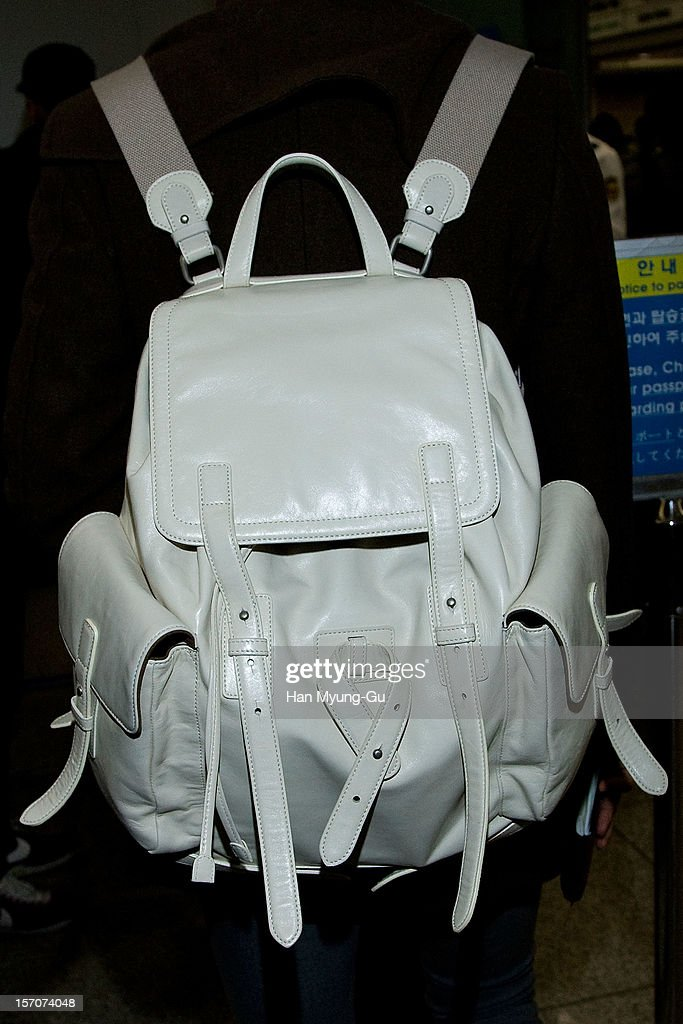 Max (Backpack Detail) of South Korean boy band TVXQ is seen at Incheon International Airport on November 28, 2012 in Incheon, South Korea.