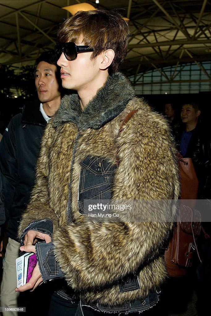 Max of South Korean boy band TVXQ (Tohoshinki) is seen at Incheon International Airport on January 18, 2013 in Incheon, South Korea.