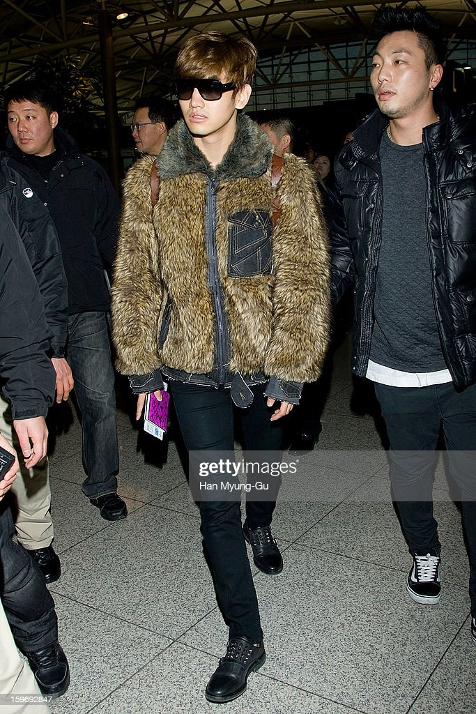 Max of South Korean boy band TVXQ (Tohoshinki) is seen at Incheon International Airport on January 18, 2013 in Incheon, South Korea.
