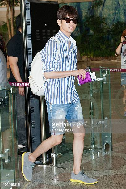 Max of South Korean boy band TVXQ is seen on departure at Gimpo International Airport on June 13 2013 in Seoul South Korea