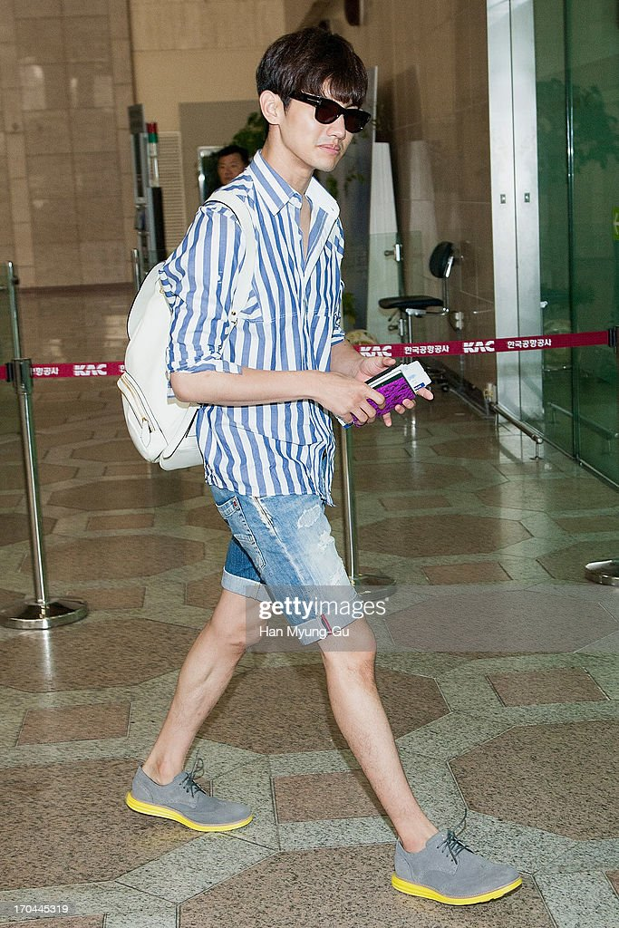 Max of South Korean boy band TVXQ (Tohoshinki) is seen on departure at Gimpo International Airport on June 13, 2013 in Seoul, South Korea.