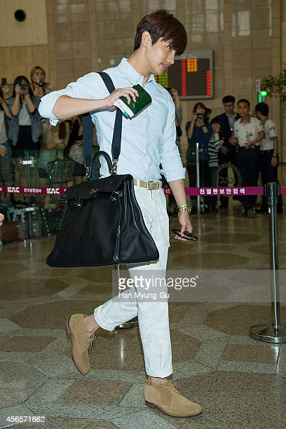 KOREA OCTOBER Max of South Korean boy band TVXQ is seen on departure at Gimpo International Airport on October 3 2014 in Seoul South Korea